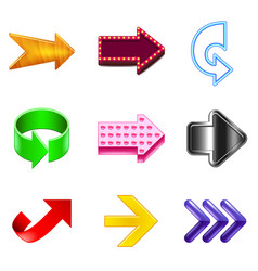 arrows design icons realistic set vector image vector image