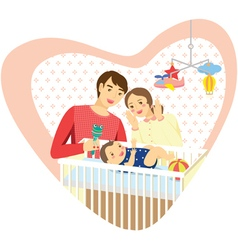 Baby family heart vector