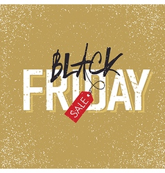black friday with tag on yellow vector image