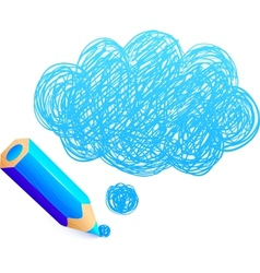 Blue cartoon pencil with doodle cloud vector image vector image