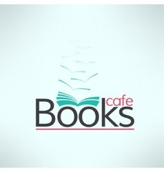 Books cafe logo in modern flat design book vector