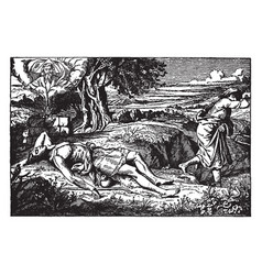 Cain and abel- cain runs away as abel lies dead vector