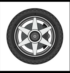 car wheel with disc brake vector image vector image