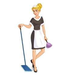 Cartoon blonde chambermaid with mop and duster vector image