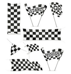 Checkered banners and flags icon set vector image vector image