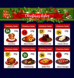 christmas menu card of winter holiday dinner vector image