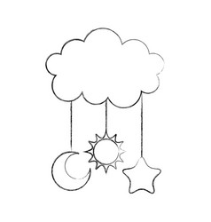 Cute cloud and star moon sun baby shower vector