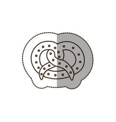 Figure pretzel bread icon vector