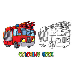 fire truck or firemachine with eyes coloring book vector image
