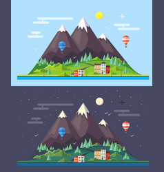 Flat style design of mountains landscape vector