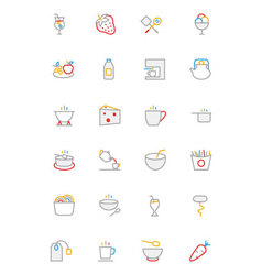 Food colored outline icons 4 vector