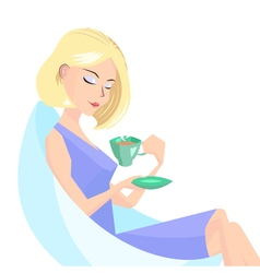 girl with a cup of coffe vector image vector image
