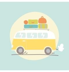 Hand drawn retro van with luggage vector image
