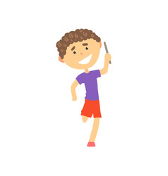 Happy boy participating in a relay race kids vector