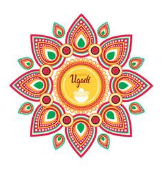 happy ugadi gudi padwa hindu new year greeting vector image