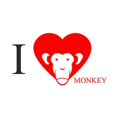 I love monkey Heart symbol in form of head monkey vector image vector image