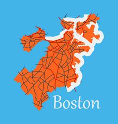 Map of boston city flat vector