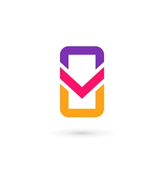 Mobile phone app letter v logo icon design vector