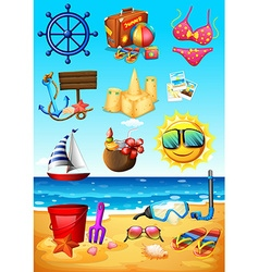 Ocean scene and beach objects vector