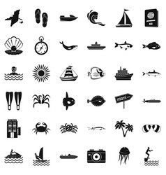 Oceanographic icons set simple style vector