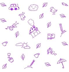 Purple house garden doodle art vector