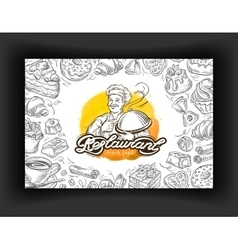 Restaurant logo design template cafe vector