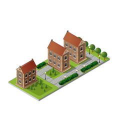 Retro isometric country house vector