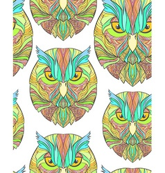 Seamless pattern with bright sketch owl in boho vector