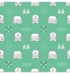 Seamless pattern with country houses vector image