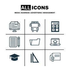 Set of 9 school icons includes e-study transport vector