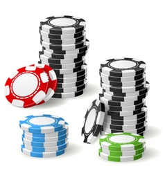 Stacks of gambling chips with leaning and pile vector