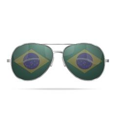 Sunglasses with brazil flag inside vector