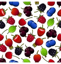 Sweet summer berry and fruit seamless pattern vector image vector image