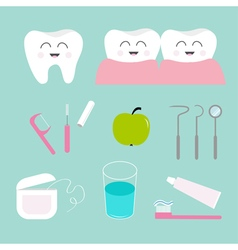 Tooth icon set toothpaste toothbrush dental tools vector