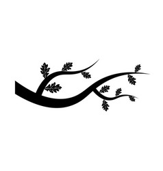 tree branch icon with leaves on white background vector image vector image