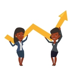 Two businesswomen holding growth graph vector