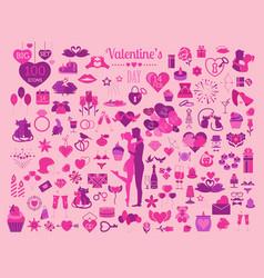 Valentines day icon set romantic design elements vector