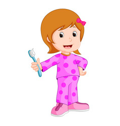 young girl brushing her tooth vector image vector image