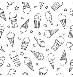 Tasty ice creams seamless pattern Hand drawing vector image