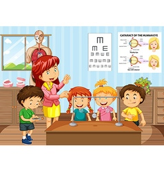 Science teacher and students in classroom vector image