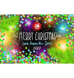 Glowing color christmas lights wreath for xmas vector
