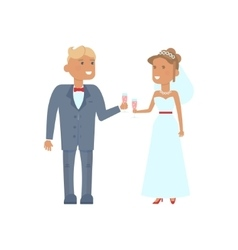Wedding couple characters with glasses vector image