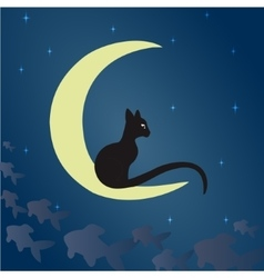 Black cat on the moon vector