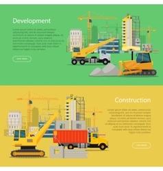 Construction development banner building process vector
