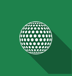 Golf ball flat icon with long shadow vector