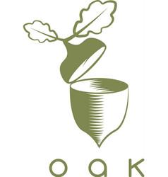 Design template of acorn and oak leaf vector