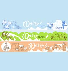 hand drawn dairy horizontal banners vector image