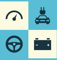 Automobile icons set collection of drive control vector