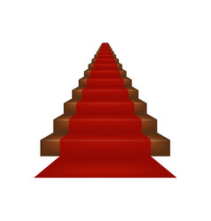 Stairs covered with red carpet vector