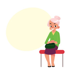 elegant grey haired woman old lady sitting in vector image